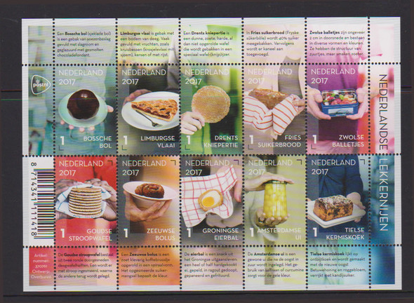 NETHERLANDS- Dutch Foods 2017- Sheet of 10