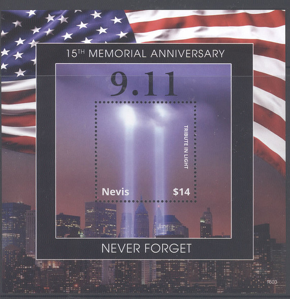 NEVIS- 9-11 15th Memorial Anniversary- souvenir sheet