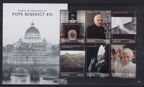 NEVIS- Pope Benedict XVI Sede Vacante- Sheet of 6- 1507