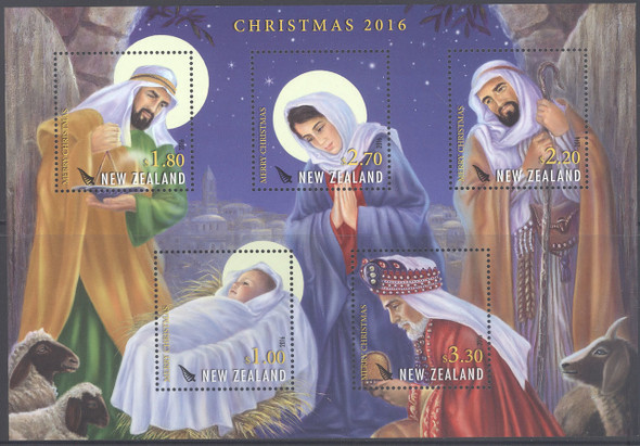NEW ZEALAND- Christmas 2016- Sheet of 5- nativity
