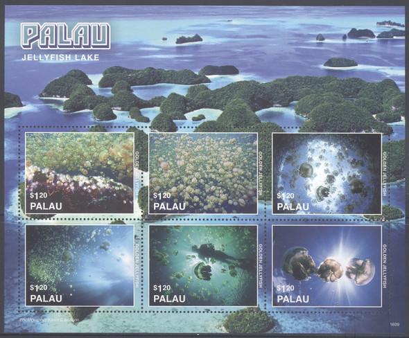 PALAU- Jellyfish Lake 2016- Sheet of 6- diver- jellyfish
