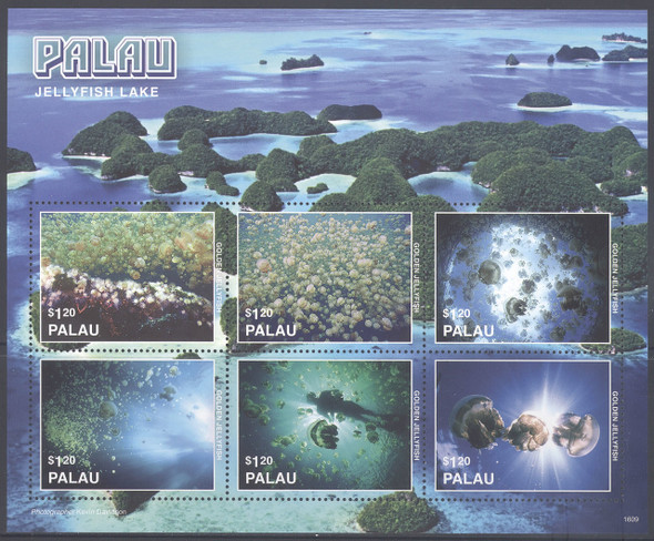 PALAU- Jellyfish Lake 2016- Sheet of 6- diver- jellyfish