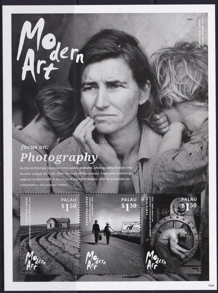 PALAU- Modern Art Photography 2014- Sheet of 3- photos by D Lange- L Hine