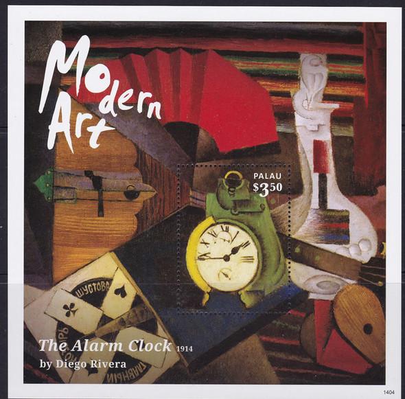 PALAU- Modern Art 2014- souvenir sheet- The Alarm Clock by Diego Rivera