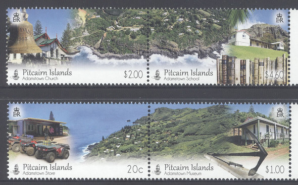 PITCAIRN IS.- Adamstown- museum- church- school- store- continuous designs (4)