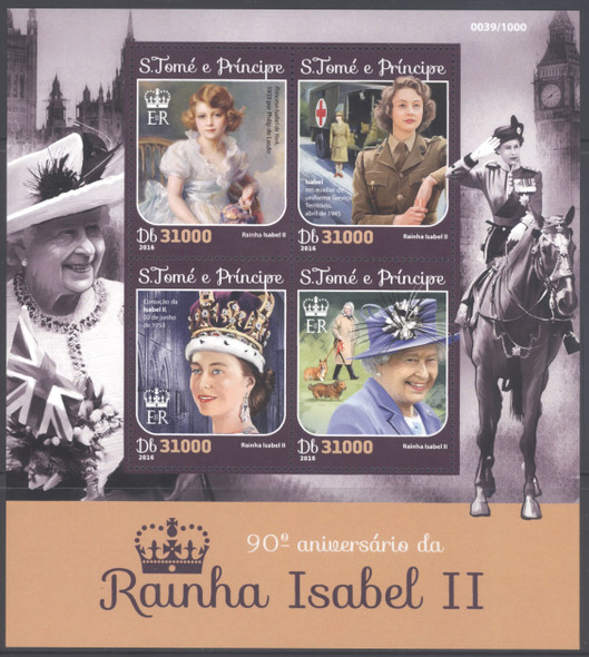 ST. THOMAS- Queen Elizabeth II 90th Birthday- Sheet of 4 & Souvenir Sheet- Red Cross, WWII, Big Ben, etc.
