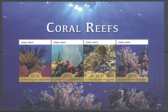 ST. VINCENT (2015): Coral Reefs- Sheet of 4 & Souvenir Sheet