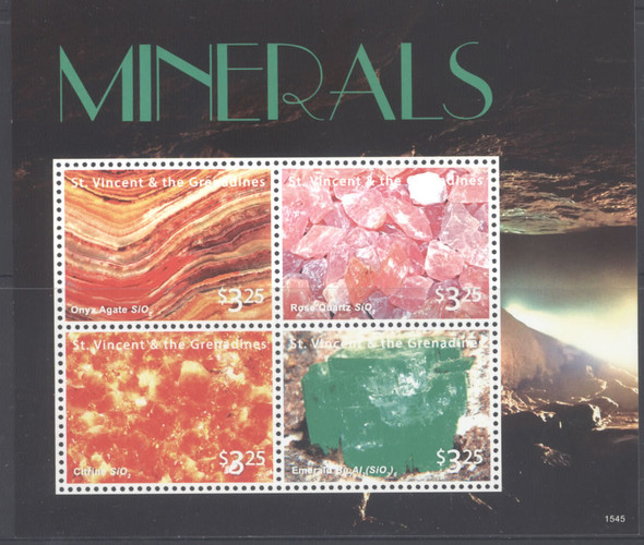 ST. VINCENT- Minerals 2015- Sheet of 4  & Souvenir Sheet