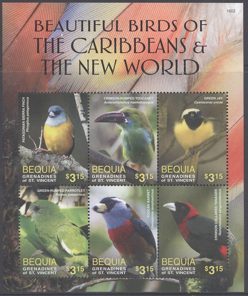 ST. VINCENT BEQUIA- Birds 2016- Sheet of 6- finch- toucanet- jay etc- 1602