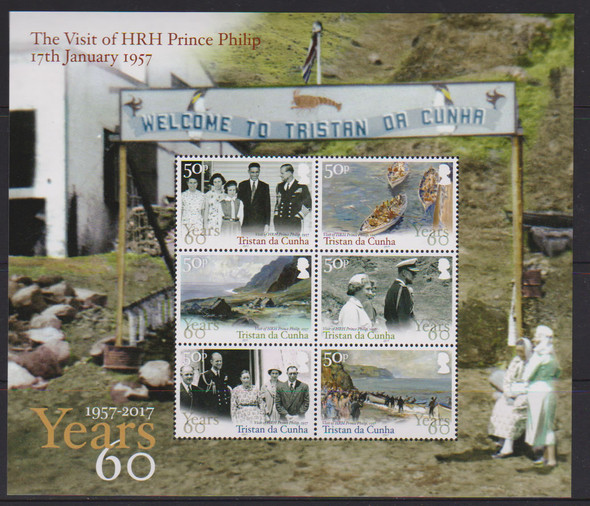 TRISTAN DA CUNHA- Prince Philip Visit Anniversary- Sheet of 6