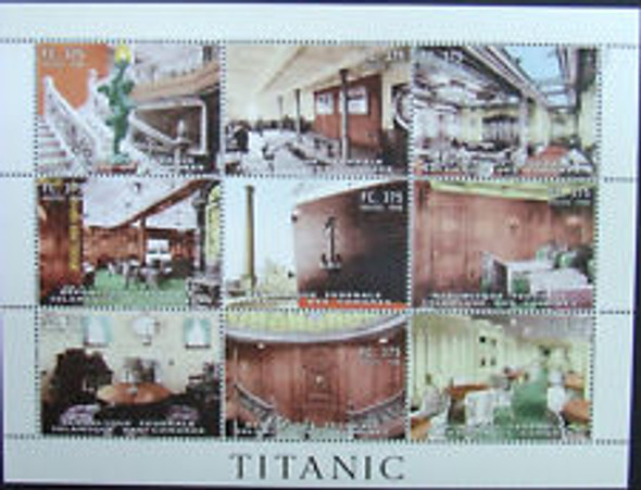 COMOROS (1999) TITANIC Sheet Of 9v