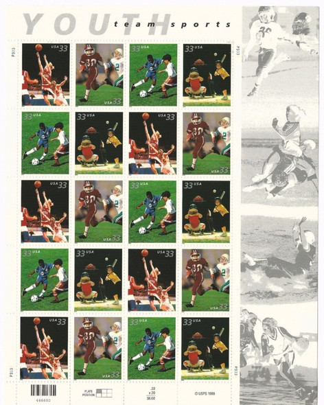 US (2000)- 33c Youth Team Sports Sheet of 20-#3339