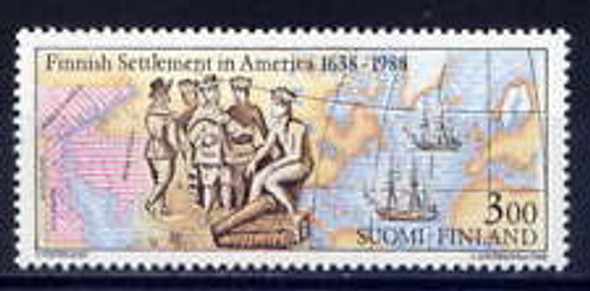 FINLAND (1988) SC#768  Finnish Settlement in America,Map, Ships(1v)