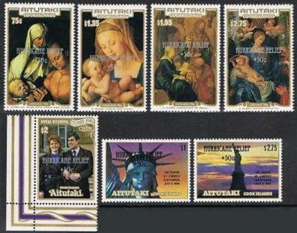 AITUTAKI (1987)- Hurricane Relief Overprints (7)- Statute of Liberty, etc.- SCV>$42!