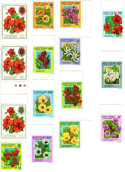 AITUTAKI (1997)- Flower Definitives (15v)- SCV=$34!