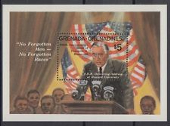 GRENADA GRENADINES (1982) FDR,Roosevelt,Flags SS