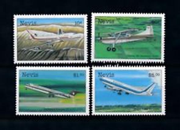 NEVIS (1998) sc3#1076-9 Aviation , Planes (4v)