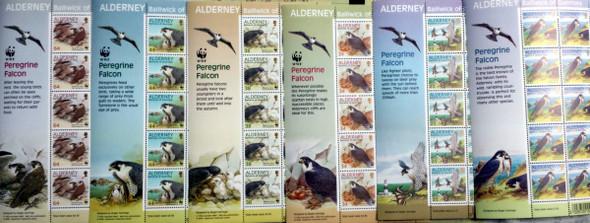 ALDERNEY (2000) WWF Peregrine Falcon Birds Sheetlets of 10 - Lighthouse, etc
