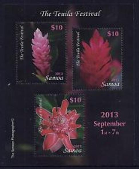 SAMOA (2014) Teuila Festival, Flora Sheet (3v)