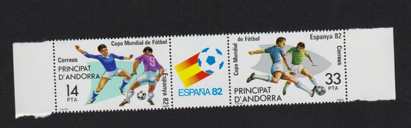 ANDORRA SP. (1982) Soccer Pair With Label (2v) Order 4 for a full sheet (small corner crease on full sheets )