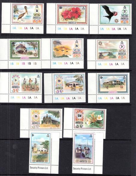 ANGUILLA (1975): Island Scenes set of 13 values- SCV=$51.60
