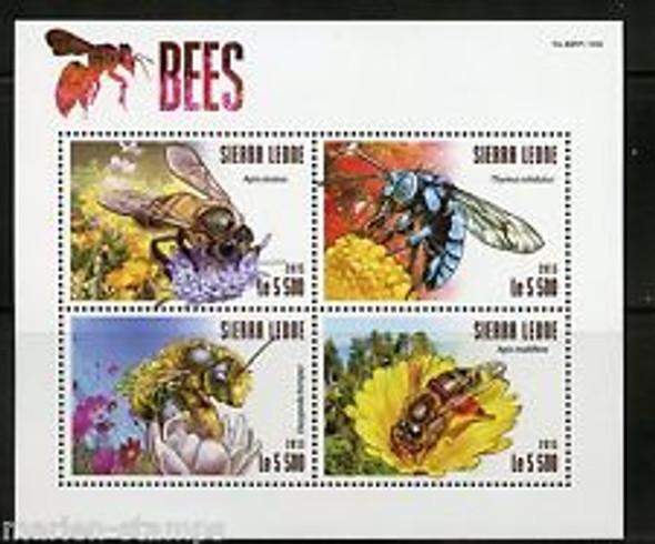 SIERRE LEONE (2015)- Bees & Flowers- Sheet of 4v & souvenir sheet