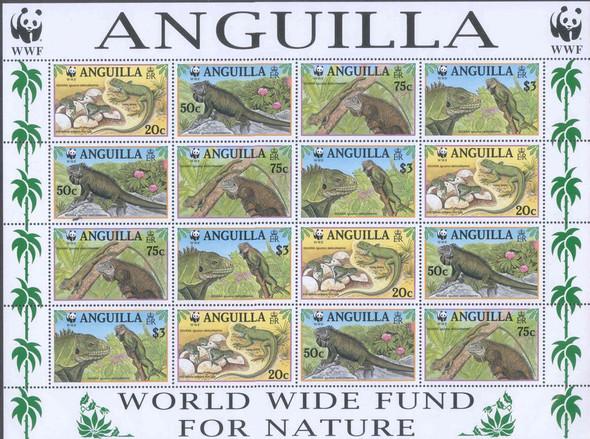 ANGUILLA- WWF Iguana Sheetlet of 4 sets