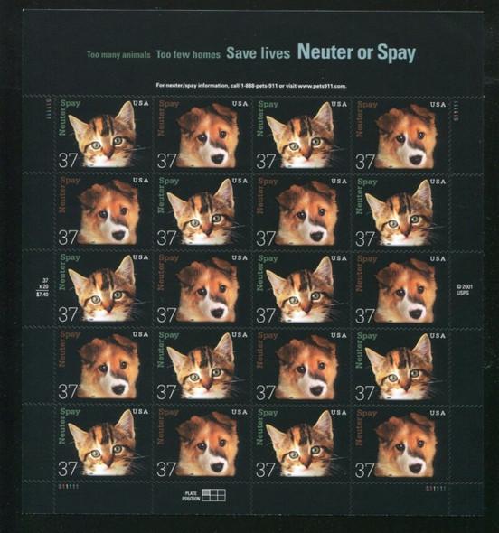 US (2002) Animal Neuter or Spay Program-- Sheet of 20