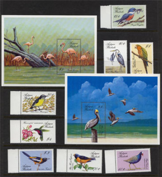 ANTIGUA (1988)- BIRDS- 8 VALUES & 2 SHEETS
