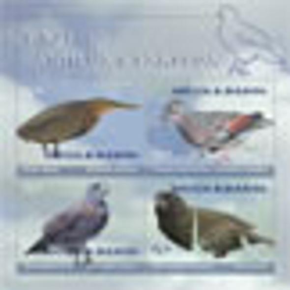 ANTIGUA- Birds- Sheet of 4- Heron- Hawk- Dove etc