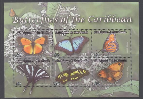 ANTIGUA- Butterflies of the Caribbean- Sheet of 6