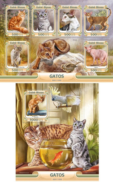 GUINEA BISSAU- CATS (2016)- SHEET OF 6 VALUES & SOUVENIR SHEET
