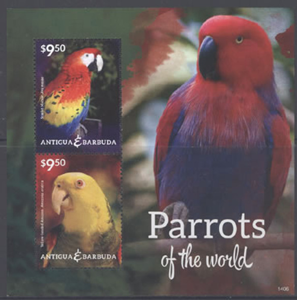 ANTIGUA: Parrots II (2014) - Sheet of 2