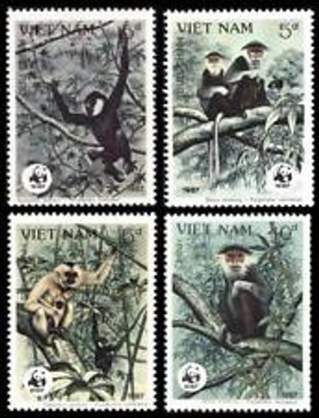 VIETNAM (1987)sc #1761-4 WWF Primates,Monkies (4v)