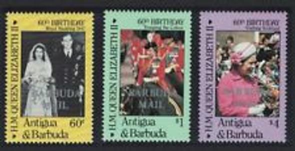 BARBUDA (1986) sc#783-5 Queens Birthday