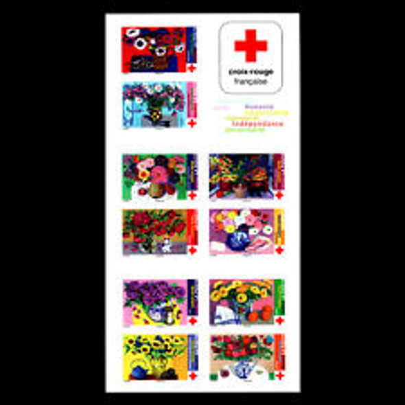 FRANCE (2018) Red Cross, Floral Paintings,Booklet