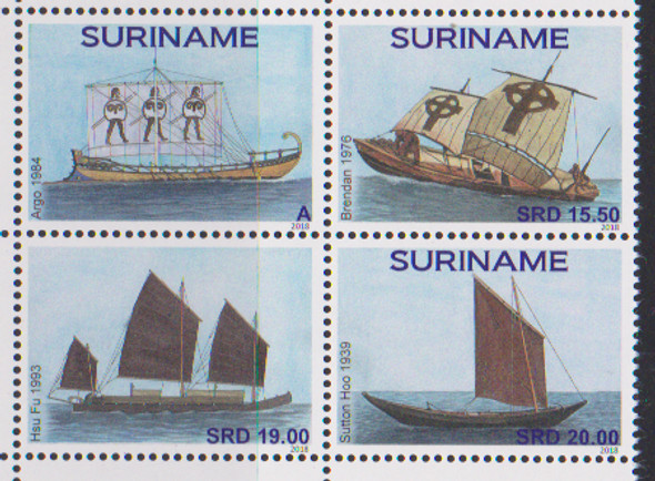 SURINAM (2018) Old Sailing Ships block of 4