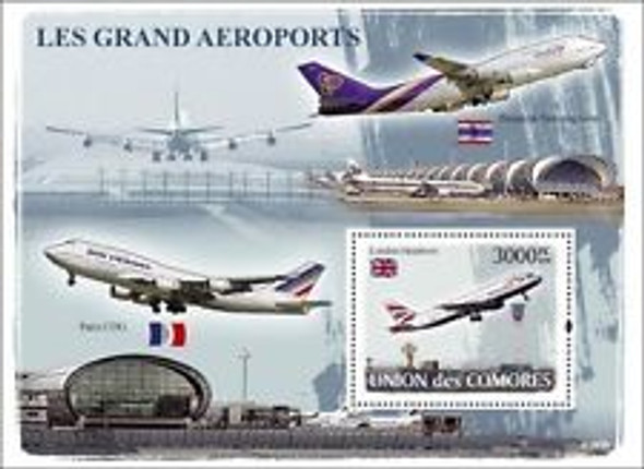 COMORES (2008) De Gaulle Airport ,Airplanes, transportation SS