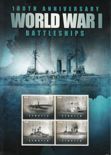 LIBERIA (2014)- WWI BATTLESHIPS SHEET OF 4 VALUE W/LARGE MARGIN!