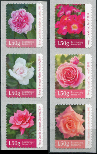 LUXEMBOURG (2017)- ROSES- COIL STRIP OF 6V