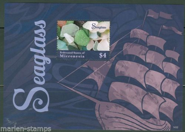 MICRONESIA (2014)- SEAGLASS SHEET OF 6 VALUES W/LARGE MARGIN & SOUVENIR SHEET