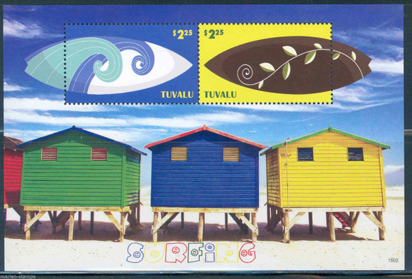 TUVALU (2015)- SURFING SHEETS OF 4v & 2v- HUTS ON BEACH MARGIN! COLORFUL