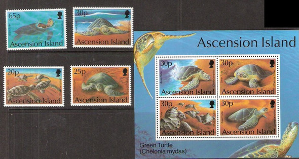 ASCENSION IS. (1994)- GREEN TURTLES- 4v & SHEET