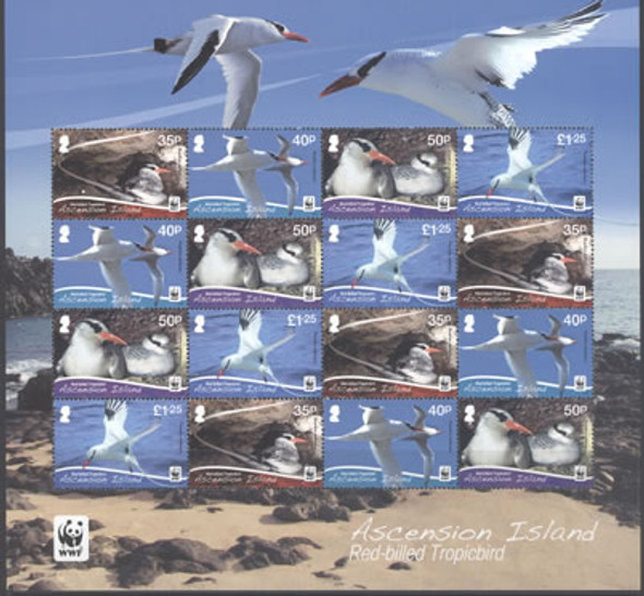 ASCENSION- WWF Red-billed Tropic bird- mini-sheet of 4 sets