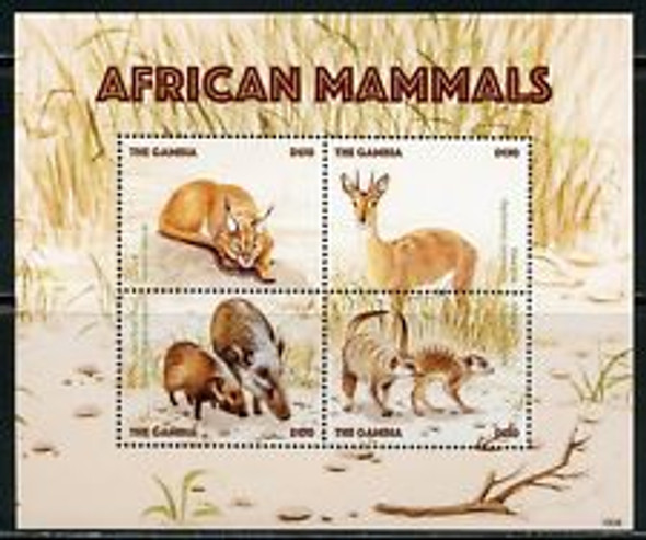 GAMBIA (2018) African mammals Sheet and SS