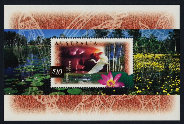 AUSTRALIA (1997)- $10 Wetlands Souvenir Sheet- Heron & Flowers