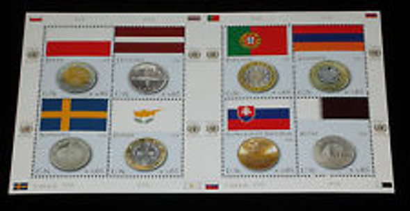 UNITED NATIONS (2008) Flag and Coin SHEETS All 3  Offices