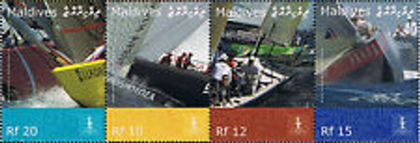 MALDIVES (2008) Americas Cup,Sailing Strip of 4