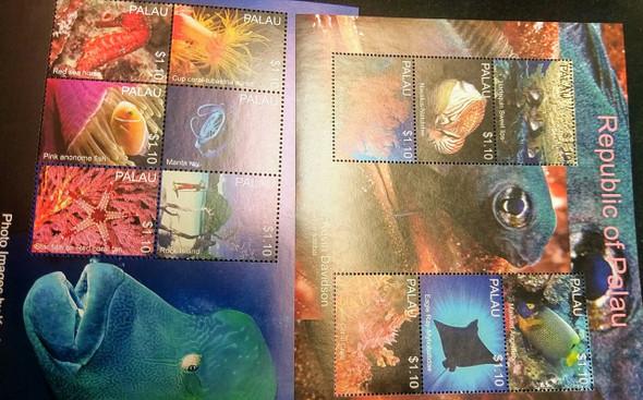 PALAU (2014)Marine Life,Fish,Photos 2 Sheets,LAST Ones