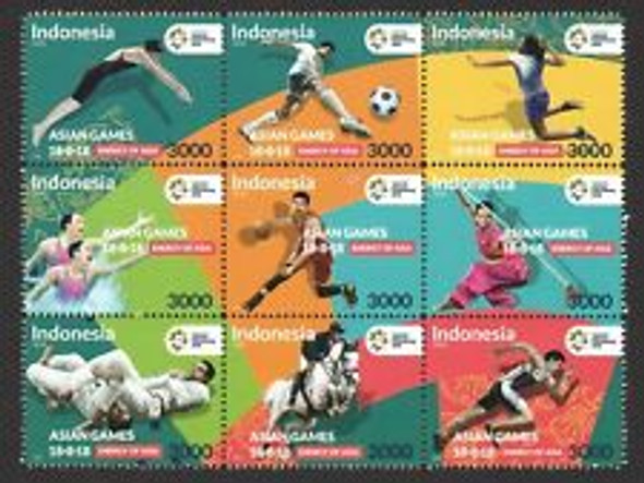 INDONESIA (2018) SPORTS,Asian Games Block (9v)